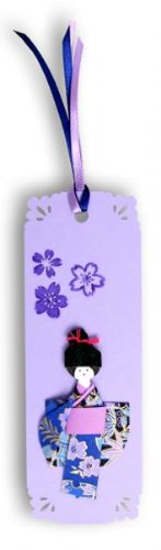 Bookmark, Gift tag, Card topper Handmade –  Geisha purple with Japanese washi paper